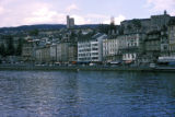 Zurich, view of riverfront and historic Old Town