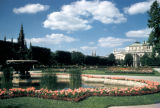 Vienna, fountain and flowerbeds in Volksgarten