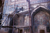 Samarkand, restoration on building in Registan Square