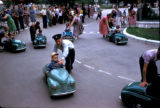 Tashkent, children riding in miniature cars at park