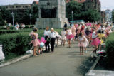 Irkutsk, children preparing for an event in park