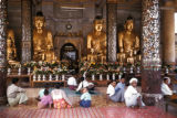 Rangoon, worshippers inside Shwedagon Pagoda
