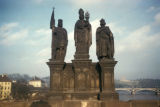 Prague, Charles Bridge with statuary of Saints Norbert, Wenceslas and Sigismund