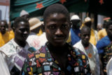 Dakar; Senegalese men at a political rally