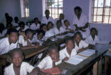 Kano, primary school students and teachers in classroom