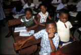 Lagos, students at desks in classroom