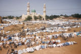 Kano, Muslims at prayer near Central Mosque (rebuilt in 1950's on site of Great Mosque of Kano)