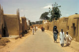Kano, street scene with mud-walled houses