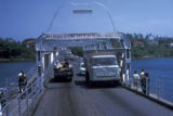 Mombasa, traffic on Nyali vehicular pontoon bridge crossing Mombasa Harbor
