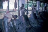Kano, workers tanning goatskins in shed