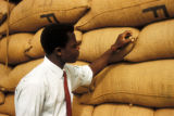 Kano, employee inspecting peanut sacks for export