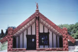 Rotorua, Tamatekapua Meeting House with traditional Maori wood carving