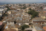Accra, aerial view of city with tin-roofed buildings