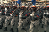 Kinshasa, uniformed soldiers in Independence Day parade