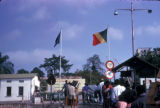 Brazzaville, travelers waiting at customs at Congo River border crossing