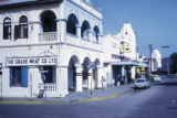 Mombasa, city street with meat company and night club