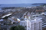 Auckland, panoramic view of industrial area and waterfront