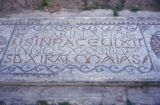 Carthage, detail of mosaic pavement with Roman alphabet