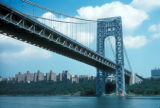 New York, Manhattan, George Washington Bridge and Little Red Lighthouse on Hudson River