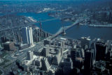 New York, Manhattan, aerial view of bridges spanning East River