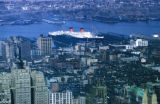 New York, Manhattan, view of city and ship in harbor