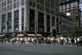 New York, Manhattan, pedestrians at crosswalk on Fifth Avenue