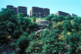 New York, Manhattan, apartment buildings on rock outcropping