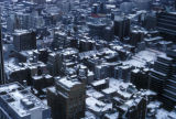 New York, Manhattan, view of snow-covered rooftops