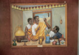 Accra, history mural depicting chemistry originating in ancient Ghana, commissioned by state