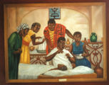 Accra, history mural depicting science of medicine originating in Ghana, commissioned by state