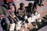 Durban, boys in tribal dress sitting on steps
