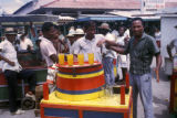 Cartagena, men at soft drink stand