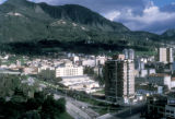 Bogota, view of city at base of mountains