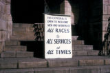 Cape Town, protest sign against apartheid at cathedral