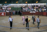 Bogota, amateur bullfighters entering ring