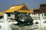Beijing, Forbidden City courtyard with turtle dragon sculpture