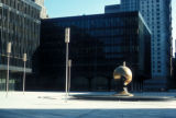 New York, Manhattan, World Trade Center Plaza with Sphere for Plaza Fountain sculpture