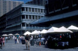 New York, Manhattan, street scene at South Street Seaport and Fulton Market
