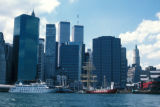 New York, Manhattan, view of skyline and South Street Seaport from East River