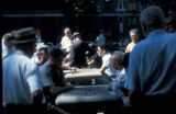 New York, Manhattan, men playing checkers and chess in Washington Square Park