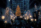 New York, Manhattan, holiday decorations at Rockefeller Center