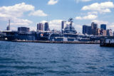 New York, Manhattan, view of Intrepid Sea-Air-Space Museum and city skyline
