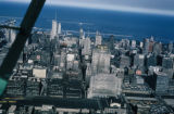 Chicago, aerial view of downtown buildings looking east toward Lake Michigan