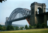 New York, Queens, view of Hell Gate Bridge over East River