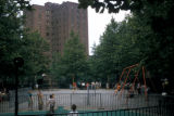 New York, Bronx, playground and high rise in Parkchester