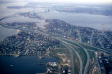 New York, Bronx, aerial view of Throgs Neck Bridge and East River