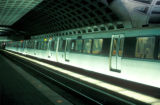 Washington, illuminated train in Metro Center station