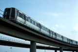 Washington, suburban Arlington, Metro train on viaduct