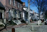 Williamsburg, restored buildings along street in Colonial Williamsburg