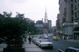 Boston, street scene on Tremont Street with Park Street Church in background